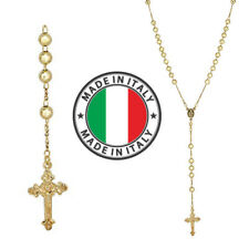 "Rosary Beads Necklace 24"" 14k Gold Over Solid 925 Sterling Silver Unisex Italy"