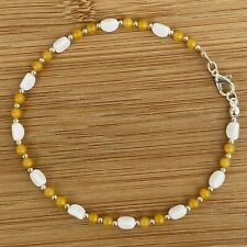 """Handmade Anklet Yellow and White Czech Glass Beads Silver Tone 10.25"""" Long"""