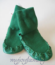 HANNA ANDERSSON Swedish Moccasins Slippers Tree Green 1-3 32-35 NWT