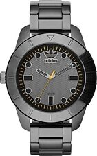 NEW ADIDAS GUNMETAL TONE,GRAY S/STEEL BRACELET BAND,YELLOW ACCENT WATCH ADH3090