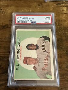 1959 Topps Willie Mays #317 Psa 2 Richie Ashburn baseball card  nl kings hitting