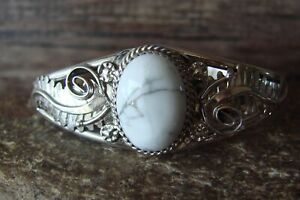 Navajo Indian White Howlite Hand Stamped Sterling Silver Bracelet by Yazzie