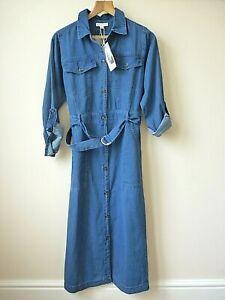 Womens Ex Warehouse Med Blue Chambray Denim Belted Midi Shirt Dress Size 8-16