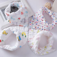 New 1pcs Baby Bibs Cotton Gauze 6 Layers Cute Cartoon Feeding Food Water Button