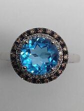 10K White Gold Blue Topaz Champagne and White Diamond Halo Ring December Size 7