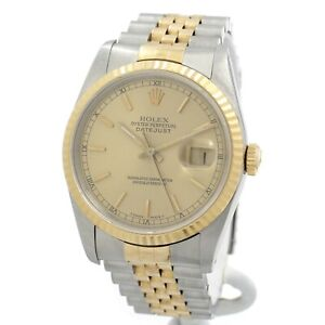ROLEX DATEJUST 18K GOLD STAINLESS STEEL CHAMPAGNE BATON DIAL WRIST WATCH #W957-1