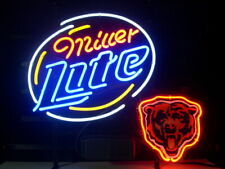 "Chicago Bears Miller Lite Logo Neon Lamp Sign 20""x16"" Bar Light Beer Display"