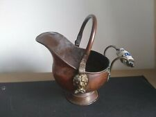 Vintage Small copper  Coal Scuttle Helmet  Bucket Carrier Planter 5in Rare