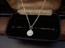 Vintage Fire Opal & Aquamarine Crystal Pendant Necklace Chain Gold Plated