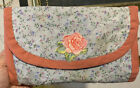WALLET ROSE & tiny flowers floral  Quilted fold out Purse WALLET Organizer