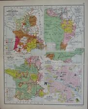 1911 MAP ~ FRANCE PARIS CITY PLAN FRENCH REVOLUTION FRENCH MONARCHY 1461-1595
