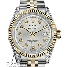 Silver Color Rolex 31mm Datejust 2 Tone 18K & SS String Diamond Dial & Corners