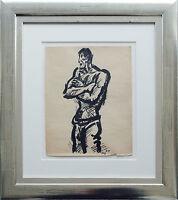 Frans Masereel 1889-1972: Matrose / Fischer Tuschezeichnung 1948 Ausstellung