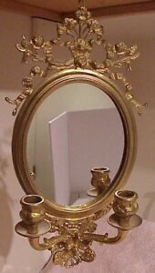 GORGEOUS!! SOLID BRASS FANCY ORNATE DOUBLE CANDLE WALL SCONCE ACCENT OVAL MIRROR