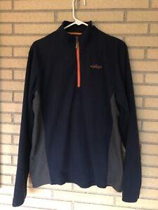 Men's Orvis medium 1/4 zipper navy/orange shirt jacket sweater