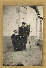 Carte Photo vintage card RPPC types creusois Creuse homme femme pz067