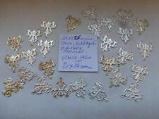 lot de 25 connecteur a 3 trous papillon M de MARIE ajouré  metal argenté  20 mm