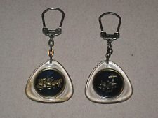 Two 1960's Vintage French Keychain MM Morlighem Simca Promotion Key Chain