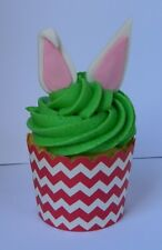 12 edible EASTER RABBIT EARS cake cupcake topper decoration BUNNY baby shower
