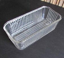 "Clear Glass Unmarked Kitchen Refrigerator Dish 8.5x4x2.75"" tall vtg FREE SH"