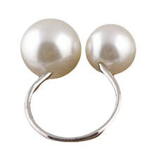 Gold Silver Alloy Special U Design Double Big Small Pearl Open Ring Woman Ring