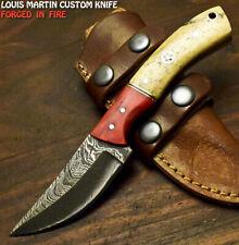 Louis Martin Hand Forged Damascus Steel Camel Bone Hunting Skinner Knife