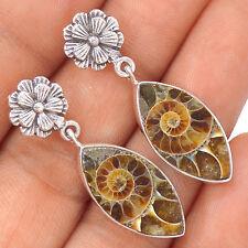 Fossil Ammonite 925 Sterling Silver Earrings Jewelry EE38318