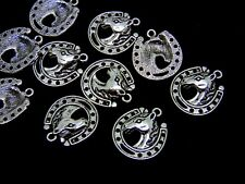 10 Pcs Tibetan Silver Lucky Horse Shoe & Head Charms 20mm Pony Jewellery W51