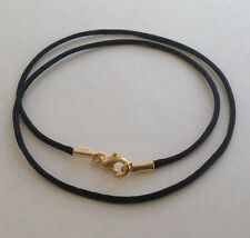 """5 Cord Necklaces ropes Black satin  16"""" 18"""" 20"""" 22"""" 24"""" Gold pl. Lobster clasp"""