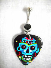 NEW SUGAR SKULL BOLD COLORS PRINTED GUITAR PICK BLACK CZ BELLY BAR NAVEL RING