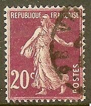 "FRANCE TIMBRE STAMP N°190 ""TYPE SEMEUSE FOND PLEIN, 20 C LILAS ROSE"" OBLITERE TB"