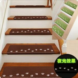 13pc Non-slip Carpet Stair Treads Luminous Mats Staircase Rug Protection Cover