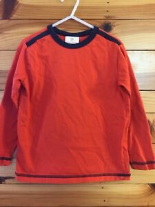 Hanna Andersson Orange Shirt EUC Boys with Navy Contrast Top Size 110 5-6