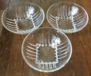 Lot of 3 Park Avenue Clear Glass Dessert Bowls Federal Glass Company