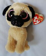 """PUGSLY the PUG - Sparkle Glitter Eyes - Ty 6 """" Beanie Boo - NEW w/RED  MINT TAG"""
