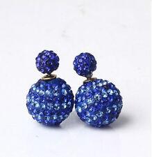 Gros shamballa bicolore Bleu Boule De Cristal Double Clous d'oreilles 16 mm