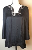 NWT Hot In Hollywood Womens Size Large L Black Blouse Studded New