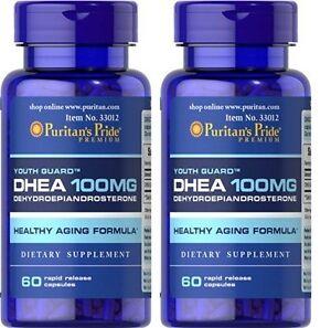 2X Puritan's Pride DHEA 100 mg total 120 Capsules Building Muscle Burning Fat