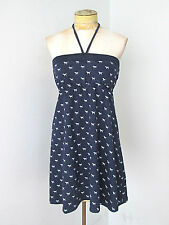 Victoria's Secret PINK French Terry blue dog jersey tube dress halter tie XS
