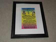 """Framed Woodstock 1969  Mini-Poster, The Who, CCR, Hendrix, CSN&Y 14""""x17"""""""