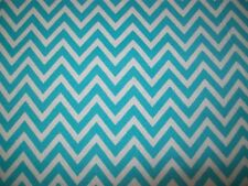 Turquoise Blue & White Chevron Cotton Snuggle Flannel Fabric 5/8 Yard + Remnant