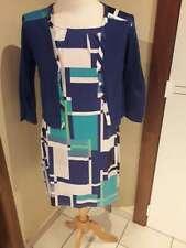 Wit-blauwe jurk + blauw gilet - 40/42