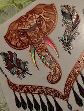 METALLIC TEMPORARY ELEPHANT FEATHERS BURNING MAN FESTIVAL 3D HOLOGRAPIC  TATTOO