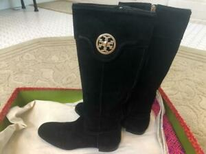 Tory Burch Suede Logo Boots Knee High Black Women, Size 8.5