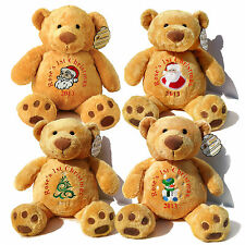 "Personalised 16"" Christmas Teddy Bear 7 Designs Gold, Mumbles/1st Baby Christmas"