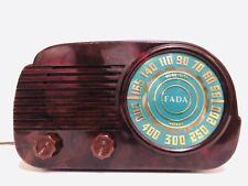 "ANTIQUE OLD 1950s FADA 845 ""CLOUD"" SWIRLED BROWN BAKELITE ART DECO VINTAGE RADIO"