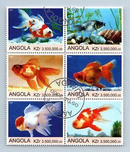 Angola 2000 Goldfish Fish Cto Used Block Of 6 #M971A