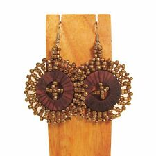 """& Wood Disc Dangle Earring 6 Colors! 1 1/2"""" Handmade Solid Color Seed Bead"""