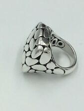 John Hardy Kali Pebbled Sterling Silver Square Ring EXCELLENT CONDITION!