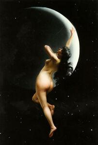 Dream-art Oil painting luis ricardo falero moon nymph flying nude Hand painted